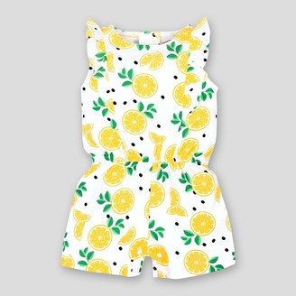 Lamaze Baby Girl' Ruffle Lemon Organic Cotton Romper - /White 9M