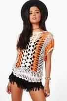 boohoo Anna Crochet Knitted Top orange