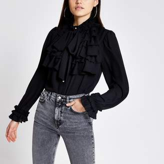 River Island Womens Black ruffle tie neck long sleeve blouse