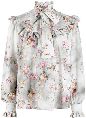 MSGM Floral Ruffle-Collar Blouse