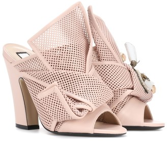 N°21 Knotted leather open-toe pumps