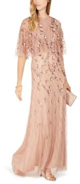 Adrianna Papell Embellished Capelet Gown