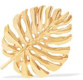 Oscar de la Renta Monstera Leaf Gold-plated Brooch