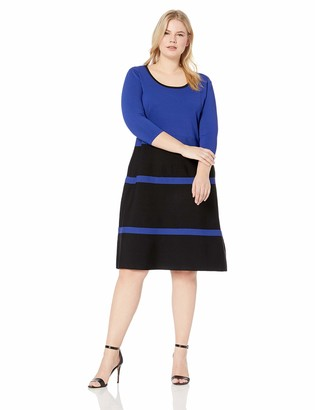 Anne Klein Women's Size Plus FIT and Flare Sweater Dress