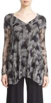 Fuzzi Women's Sheer Sleeve Print Tulle Top