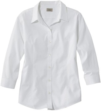 L.L. Bean Women's Wrinkle-Free Pinpoint Oxford Shirt, Three-Quarter-Sleeve Slightly Fitted