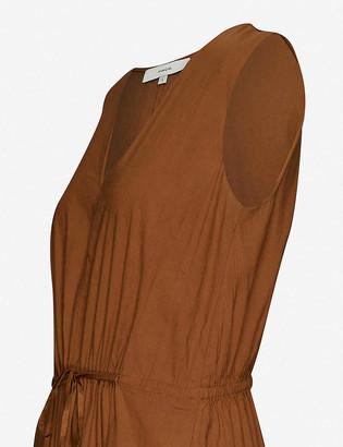 Vince V-neck sleeveless linen-blend midi dress