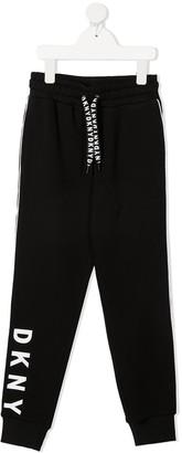 DKNY Logo-Print Cotton Track Trousers