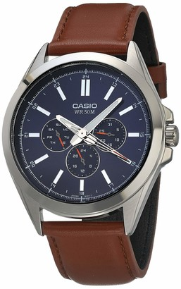 Casio Men's Classic Stainless Steel Quartz Watch with Leather Strap