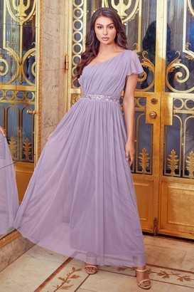 Sistaglam MARIAH LILAC ONE SHOULDER SEQUIN BELT MAXI DRESS