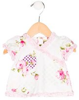 Christian Dior Girls' Floral Print Ruffle-Trimmed Top