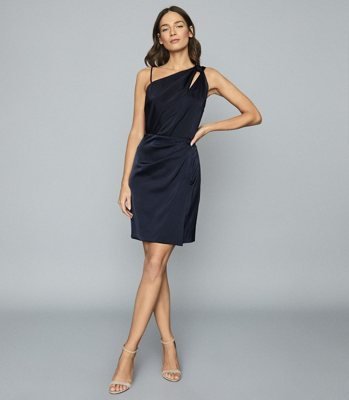 Reiss Adara - One-shoulder Satin Dress in Navy