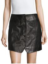 Rachel Zoe Ciara Leather Front Button Mini Skirt