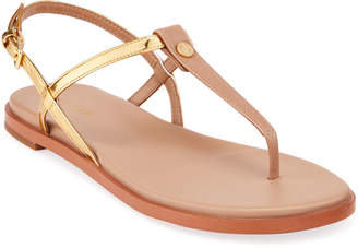 Cole Haan Flora Metallic Leather Thong Strap Sandals