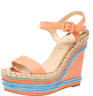 Christian Louboutin Pale Orange Leather New Duplice Ankle Strap Wedges Platform Sandals Size 38