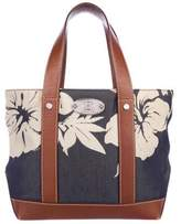 Celine Leather-Trimmed Canvas Tote