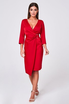 Little Mistress Paper Dolls Varsha Red Satin Ring Buckle Wrap Dress