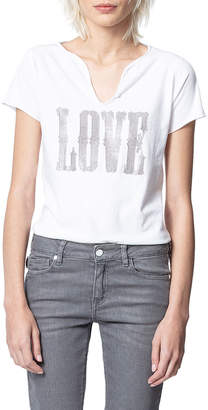 Zadig & Voltaire Tunisien Love Studded Short Sleeve Tee