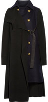 Sacai Paneled Waffle-knit And Melton Wool Coat