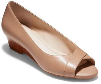 Cole Haan The Go-To Leather Wedge Peep Toe Pump