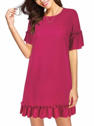 Moyabo Women's Short Sleeve Round Neck Ruffle Trim Hem Party Summer Beach Vacation Dress Rose Red X-Large