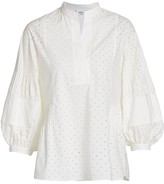 Akris Punto Perforated Poplin Balloon-Sleeve Blouse