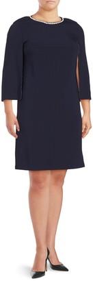 Basler Plus Embellished Solid Shift Dress