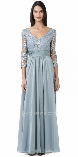 Adrianna Papell Three Quarter Sleeve Sequined Lace Evening Dresses