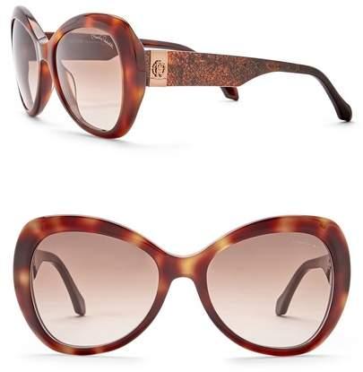Roberto Cavalli 56mm Acetate Round Sunglasses