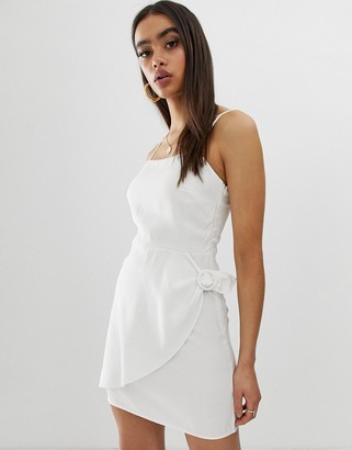 Fashion Union cami dress with buckle detail-Cream