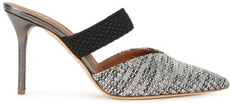 Malone Souliers Maisie 85 gunmetal leather and Lurex mules
