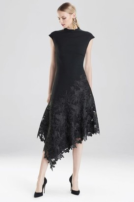 Natori Crepe and Guipure Lace Dress