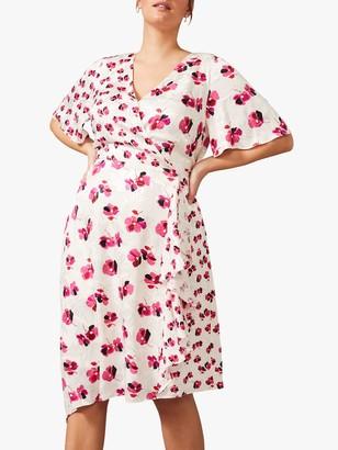Studio 8 Margot Floral Wrap Dress, Ivory/Pink