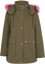 J.Crew Collection Faux Fur-trimmed Cotton-canvas Parka - Army green