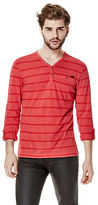 G by Guess GByGUESS Men's Milam Striped Henley Tee
