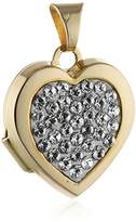 """Crystelle Heart Locket Pendant - Yellow / White Gold 375/1000 with White Swarovski Crystals - 0.78"""""""
