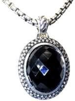 David Yurman 925 Sterling Silver Moonlight Oval Onyx Diamond Enhancer Pendant