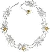 Forzieri Bernard Delettrez Bronze Spiders on Silver Web Necklace