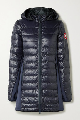 Canada Goose Hybridge Lite Jersey-trimmed Hooded Quilted Ripstop Down Coat - Midnight blue