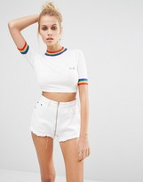Unif Rainbow Trim Cropped Knit Top