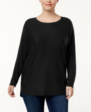 INC International Concepts Inc Plus Size Shirttail-Hem Sweater, Created for Macy's