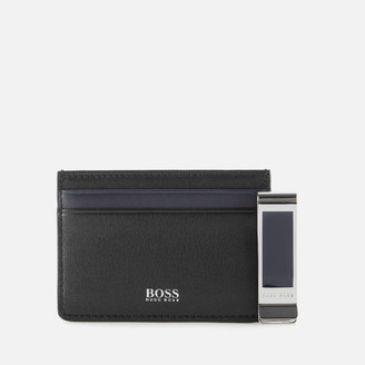 HUGO BOSS Men's Card Holder and Money Clip Gift Set - Black