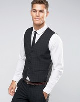 Selected Suit Vest with Mini Plaid in Skinny Fit with Stretch