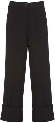 Mint Velvet Black Textured Wide Trousers
