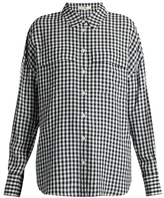 Tibi Point-collar gingham blouse