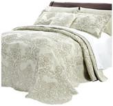 Serenta Damask Coverlet 4 Piece Bed Spread Set, Light Green, Queen