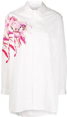 Yohji Yamamoto floral print longline shirt