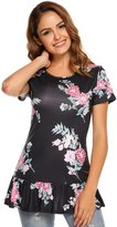 Meaneor women's short sleeve floral print boho summer top blouse