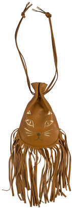 Charlotte Olympia Brown Leather Fringe Kitty Set of 2 Pochette
