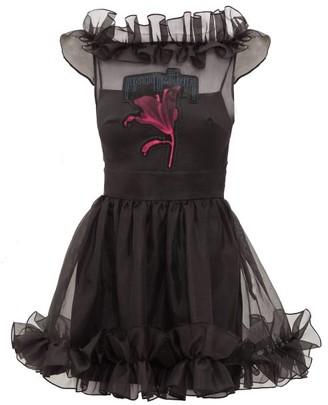 Christopher Kane Anthomania Ruffled Silk-organza Mini Dress - Black